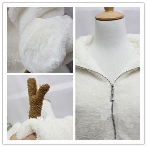 Winter Fluffy Lovely Deer Horn Hoodie Beige Coat SP130231 - SpreePicky  - 4