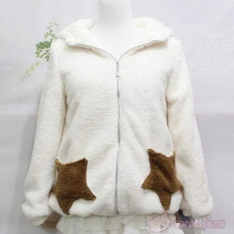 Winter Fluffy Lovely Deer Horn Hoodie Beige Coat SP130231 - SpreePicky  - 3