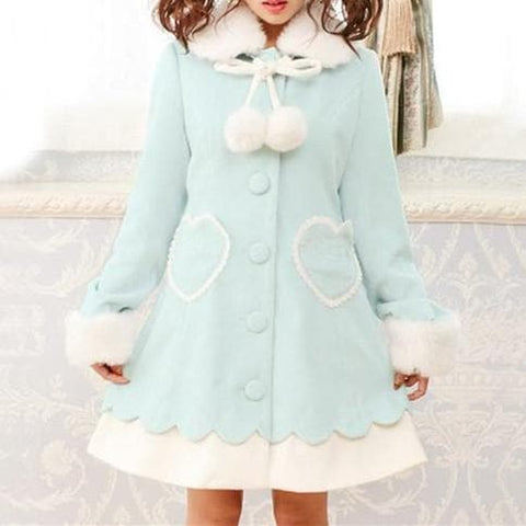 Winter Lolita Princess Fleece Bow Coat SP151730