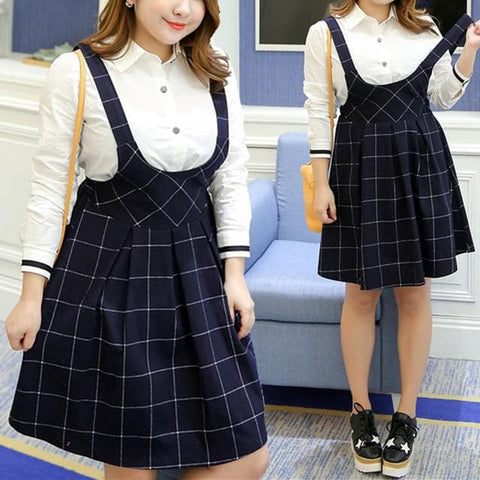 XL-4XL Cute Plaid Suspender Skirt SP165598