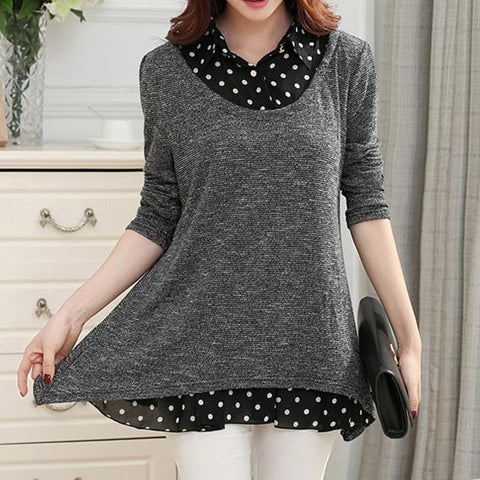 XL-5XL Grey Oversized Long Sleeve Shirt SP168213