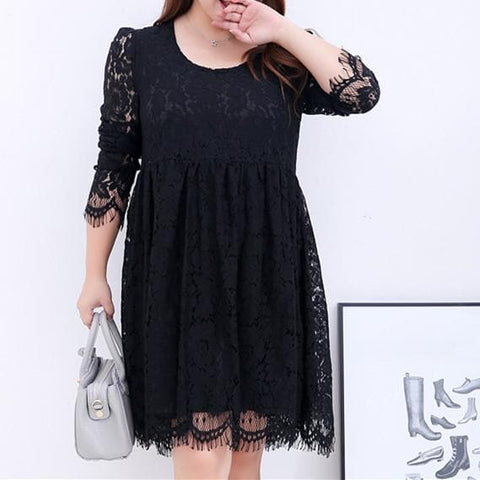 XL/2XL/3XL White/Black Elegant Long-sleeved Lace Dress SP165599