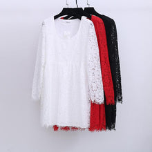 Load image into Gallery viewer, XL/2XL/3XL White/Black Elegant Long-sleeved Lace Dress SP165599