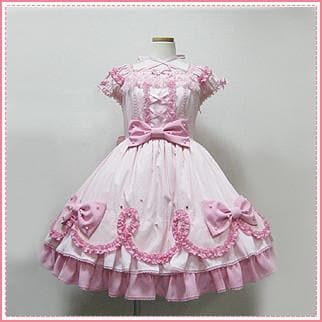 XS-2XL Custom Made Pink Lolita Falbala Pearl Bowknot Dress SP165912