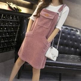 XS-3XL 4 Colors Kawaii Corduroy Midi Suspender Dress SP168268