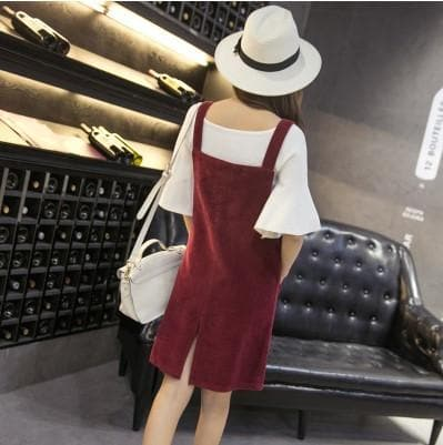 489760004 ... Load image into Gallery viewer, XS-3XL 4 Colors Kawaii Corduroy Midi  Suspender Dress ...