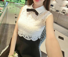Load image into Gallery viewer, XS-L Black and White Elegant Sleeveless Lace Dress with Bowknot SP166088 - SpreePicky FreeShipping