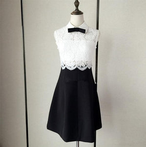 XS-L Black and White Elegant Sleeveless Lace Dress with Bowknot SP166088 - SpreePicky FreeShipping