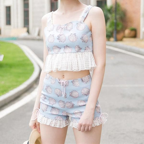 XS-L Pastel Blue Mermaid Sea Shell Shorts Set SP167372