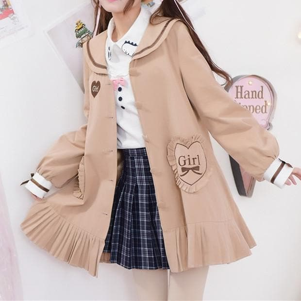 Khaki Kawaii Long Coat SP178794