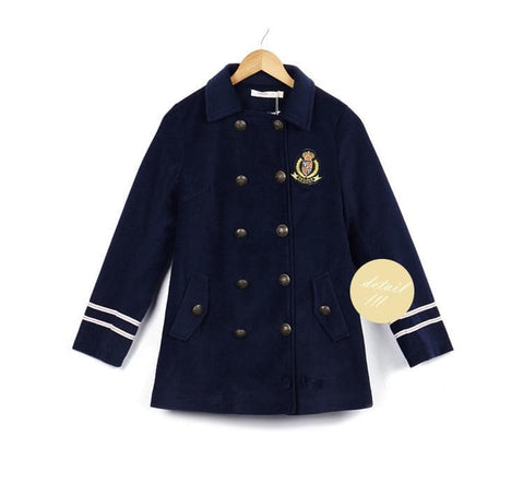 XS-L Navy/Army Green Sailor Double-breasted Coat SP154282 - SpreePicky  - 12