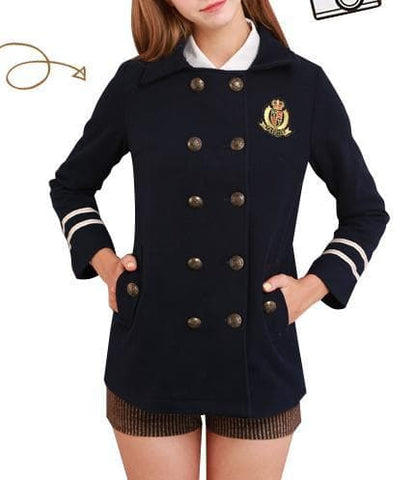 XS-L Navy/Army Green Sailor Double-breasted Coat SP154282 - SpreePicky  - 4