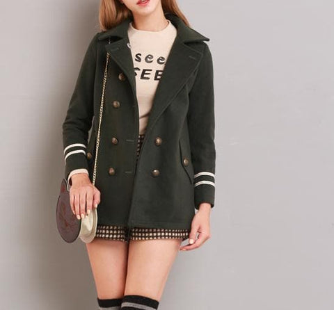 XS-L Navy/Army Green Sailor Double-breasted Coat SP154282 - SpreePicky  - 7