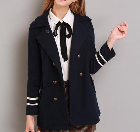 XS-L Navy/Army Green Sailor Double-breasted Coat SP154282 - SpreePicky  - 5