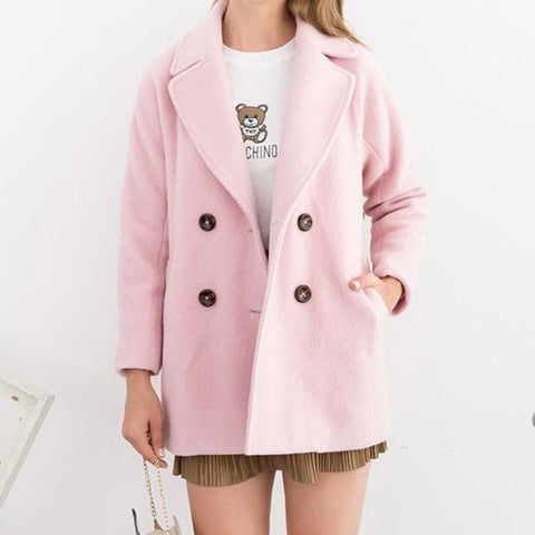 XS-L Pink/Purple Sweet Woollen Coat SP154540 - SpreePicky  - 5