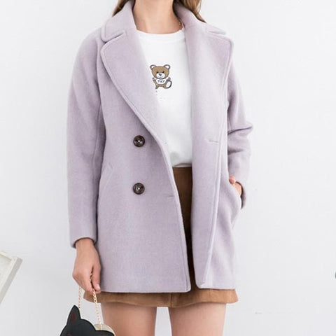 XS-L Pink/Purple Sweet Woollen Coat SP154540 - SpreePicky  - 4