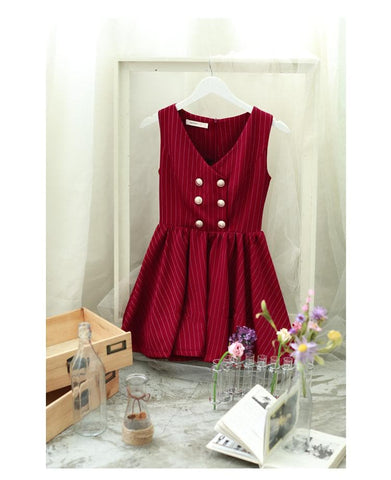 XS-L Red/Green School Girl Sleeveless Dress SP154283 - SpreePicky  - 12