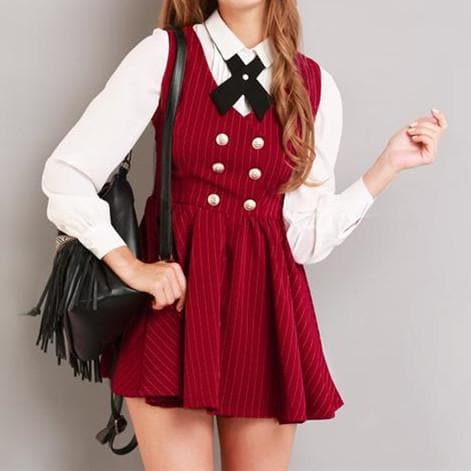 XS-L Red/Green School Girl Sleeveless Dress SP154283 - SpreePicky  - 5