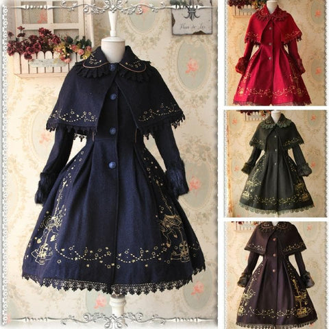 S-XL 4 Colors Lolita Embroidery Midi Cape Coat SP168504