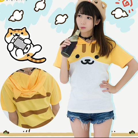 XS-2XL Neko Atsume Kawaii Cat Summer Hoodie Shirt SP167092