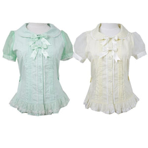 Yellow/Mint Chess StoryPastel Cute Lolita Blouse SP130128 - SpreePicky  - 1