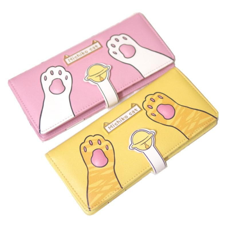 Yellow/Pink Kawaii Fortune Cat Paw Wallet SP168560
