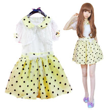 Load image into Gallery viewer, Yellow Hight Waist Polka Dots Sweet Dress SP130102 - SpreePicky  - 1