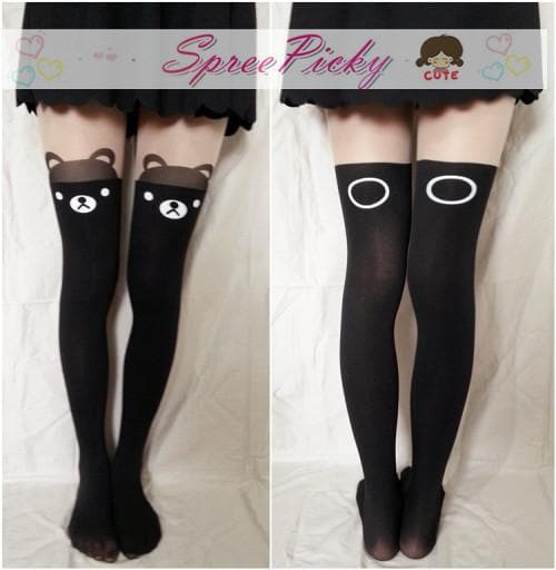 {buy 2 get 3}Fake Over knee Lovely Bear high patchwork pantyhose silk thin stockings SP130043 - SpreePicky