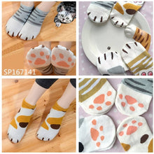 Load image into Gallery viewer, Grey/Yellow Kawaii Neko Cat Socks SP167141