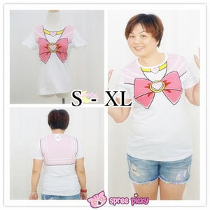 [S-3XL] Sailor Moon Chibi Moon Pink Bow Cotton T-shirt Top SP140963 - SpreePicky  - 3