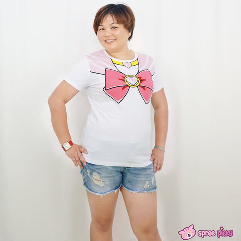 [S-3XL] Sailor Moon Chibi Moon Pink Bow Cotton T-shirt Top SP140963 - SpreePicky  - 5