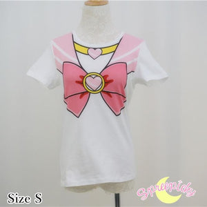 [S-3XL] Sailor Moon Chibi Moon Pink Bow Cotton T-shirt Top SP140963 - SpreePicky  - 2