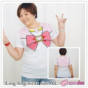 [S-3XL] Sailor Moon Chibi Moon Pink Bow Cotton T-shirt Top SP140963 - SpreePicky  - 4