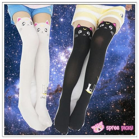 Screaming! Sailor Moon Luna Artemis Kitten with Tail on Back Legging Tights SP141305 - SpreePicky  - 2