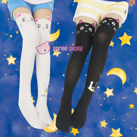 Screaming! Sailor Moon Luna Artemis Kitten with Tail on Back Legging Tights SP141305 - SpreePicky  - 1