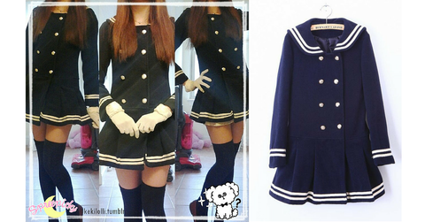 J-fashion Winter Sailor Woolen Coat SP130284 - SpreePicky  - 2