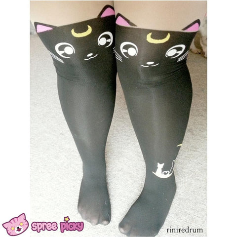 Screaming! Sailor Moon Luna Artemis Kitten with Tail on Back Legging Tights SP141305 - SpreePicky  - 9