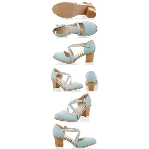 Round Toe Bandage Thick Heels Sandal Shoes SP140922 - SpreePicky  - 4