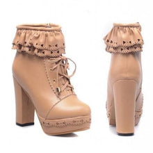 Load image into Gallery viewer, Elegant Falbala Thick Platform Heels Short Boots SP141458 - SpreePicky  - 18