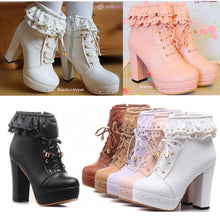 Load image into Gallery viewer, Elegant Falbala Thick Platform Heels Short Boots SP141458 - SpreePicky  - 1