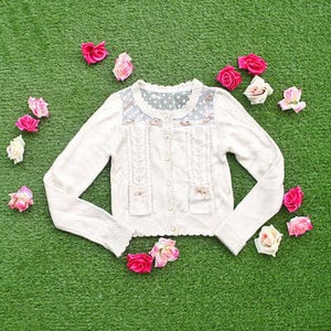 White/Beige/Pink Mori Girl Knitted Sweater Cardigan Jacket SP153443 - SpreePicky  - 4