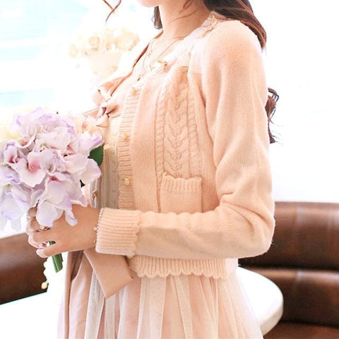 White/Beige/Pink Mori Girl Knitted Sweater Cardigan Jacket SP153443 - SpreePicky  - 5