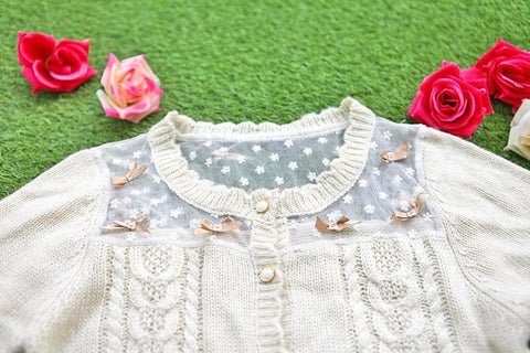White/Beige/Pink Mori Girl Knitted Sweater Cardigan Jacket SP153443 - SpreePicky  - 6
