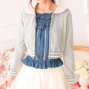 White/Grey/Pink Sailor Collar Embroidery Knitted Sweater Cardigan Coat SP153444 - SpreePicky  - 5