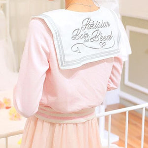White/Grey/Pink Sailor Collar Embroidery Knitted Sweater Cardigan Coat SP153444 - SpreePicky  - 7