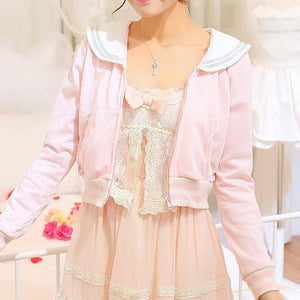 White/Grey/Pink Sailor Collar Embroidery Knitted Sweater Cardigan Coat SP153444 - SpreePicky  - 6