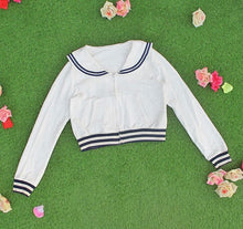 Load image into Gallery viewer, White/Grey/Pink Sailor Collar Embroidery Knitted Sweater Cardigan Coat SP153444 - SpreePicky  - 8