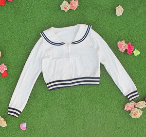White/Grey/Pink Sailor Collar Embroidery Knitted Sweater Cardigan Coat SP153444 - SpreePicky  - 8