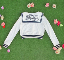Load image into Gallery viewer, White/Grey/Pink Sailor Collar Embroidery Knitted Sweater Cardigan Coat SP153444 - SpreePicky  - 9
