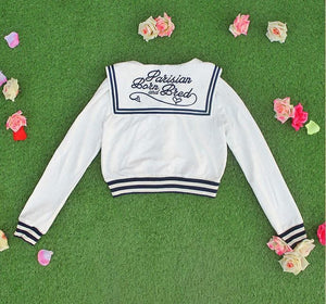 White/Grey/Pink Sailor Collar Embroidery Knitted Sweater Cardigan Coat SP153444 - SpreePicky  - 9